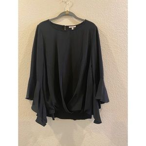 Black Blouse With Ruffle Sleeves